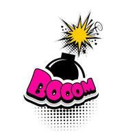 Bombe publicitaire de bulle de texte de bande dessinée, boom vecteur