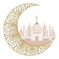 ornement de célébration eid sur fond blanc, lune avec mosquée