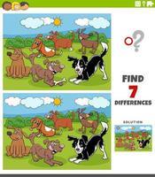 jeu éducatif de différences avec groupe de chiens de dessin animé
