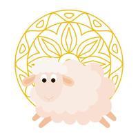 ornement élégant, mandala rond doré avec animal mouton