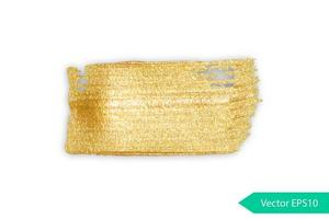 tache de coup de pinceau acrylique doré vecteur