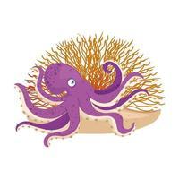 vie sous-marine de mer, poulpe avec corail sur fond blanc
