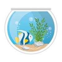 poissons d'aquarium avec eau, algues, animal marin d'aquarium vecteur