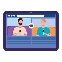 fête en ligne, les hommes ont une fête en ligne ensemble en quarantaine, caméra Web de fête vacances en ligne sur tablette