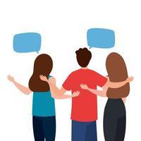 avatars de femmes et d'hommes à l'envers avec la conception de vecteur de bulles de communication