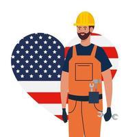 homme de constructeur avec casque et conception de vecteur de coeur drapeau usa