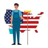 Homme de peintre avec seau de rouleau et conception de vecteur de carte drapeau usa