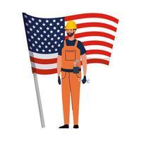 homme constructeur avec casque et conception de vecteur de drapeau usa