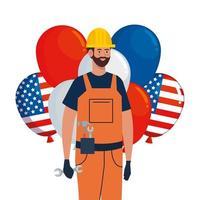 homme de constructeur avec casque et conception de vecteur de ballons usa