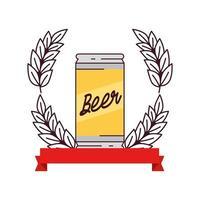 Canette de bière avec décoration de pointe et ruban sur fond blanc