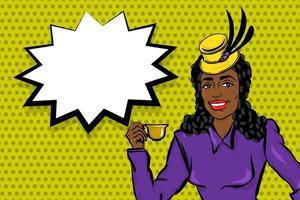 noir afro femme pop art boire du thé vecteur