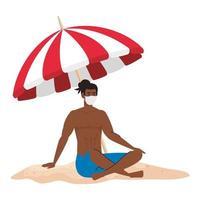 homme afro en short portant un masque médical, tourisme avec coronavirus, prévention covid 19 en vacances d'été vecteur