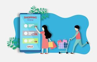 un homme et une femme achètent des choses dans la boutique en ligne