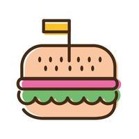 ligne de restauration rapide hamburger et icône de style de remplissage vecteur