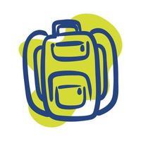 icône de style de ligne équipement sac d'école