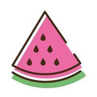 ligne de fruits frais pastèque et icône de style de remplissage