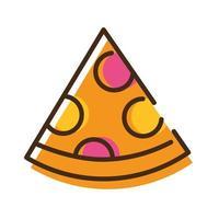 délicieuse pizza italienne ligne de restauration rapide et icône de style de remplissage
