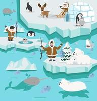 paysage arctique avec des personnes et des animaux inuits