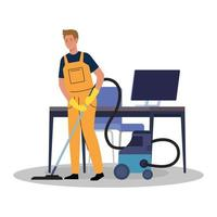 Homme travailleur du service de nettoyage avec aspirateur au bureau, sur fond blanc