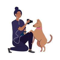 Jeune photographe femme prenant une photo de chien sur fond blanc vecteur