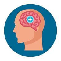 Silhouette de profil humain avec cerveau et symbole croix, esprit positif sur fond blanc vecteur