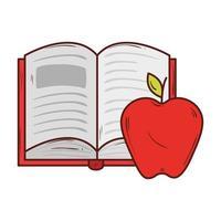 livre ouvert avec pomme fruit rouge sur fond blanc