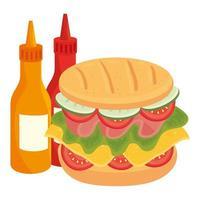Délicieux sandwich avec sauce en bouteille sur fond blanc