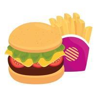 Hamburger avec pommes de terre frites, sur fond blanc