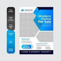 modèle de conception de flyer immobilier avec couleur cyan
