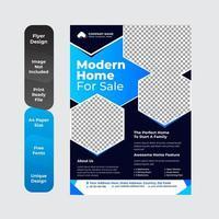 conception de flyer immobilier design entièrement modifiable avec couleur cyan vecteur