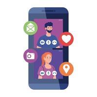 couple en vidéo chat en ligne sur smartphone, avec des icônes de médias sociaux