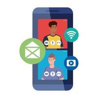 hommes en vidéo discutant en ligne sur smartphone, avec des icônes de médias sociaux
