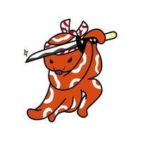 illustration graphique vectorielle de poulpe samouraï guerrier vecteur