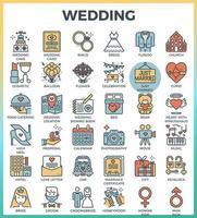 mariage et amour contour icônes de couleur vecteur