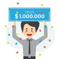 un homme chanceux gagne un prix en argent vecteur