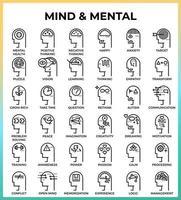 icônes de contour parfait pixel mental et esprit vecteur