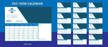 modèle de calendrier de bureau 2021 vecteur