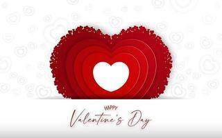 carte de valnetine avec toile de fond en forme de coeur rouge sur fond blanc. vecteur