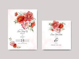 modèle d'invitation de mariage floral beau et élégant vecteur