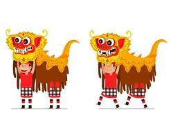 spectacle de danseur de lion balinais traditionnel vecteur