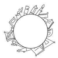 cadre de cercle décoration dessinée à la main du thème de la rentrée scolaire vecteur