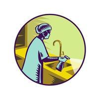 Infirmière pulvérisant un emblème rétro désinfectant vecteur