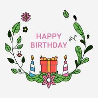 guirlande florale d'enfants carte d'anniversaire dessinée à la main