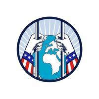 Amérique en lockdown isolé de la gravure sur bois du monde vecteur