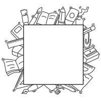 cadre carré décoration dessinée à la main du thème de la rentrée scolaire vecteur