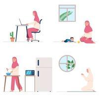 Une femme musulmane prie et fait des activités quotidiennes à la maison vecteur