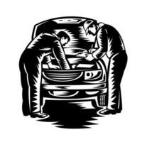Service de voiture mécanicien automobile et réparation gravure sur bois en noir et blanc vecteur