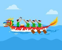 sur la course de bateau dragon de feu vecteur