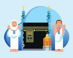 priant de jolis personnages pèlerins du hajj devant maqam ibrahim et kaaba vecteur
