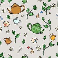 tasse de thé au jasmin et feuilles dessin modèle sans couture vecteur